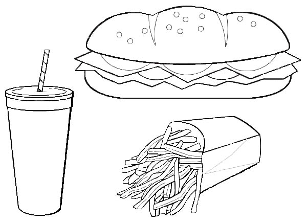 Hot Dog Coloring Pages Food, Echo's Free Food Coloring Pages of ... | 436x600