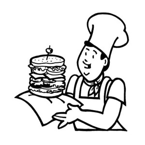 Fast Food The Big Burger Junk Food Coloring Page