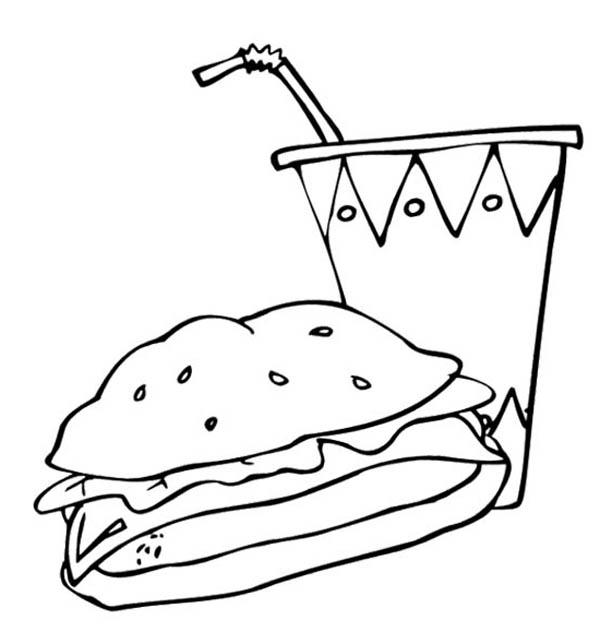 Junk Food Burger And Drink Coloring
