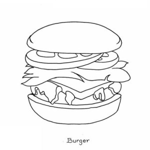 Junk Food Burger Is Not Healty Coloring Page