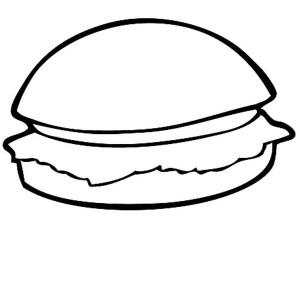 Junk Food Hamburger Coloring Page