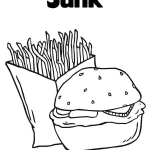 Junk Food Hamburger And Fries Coloring Page