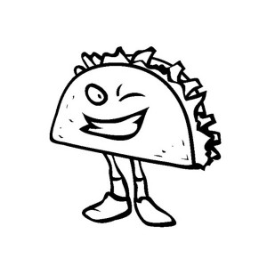 Junk Food Sandwich Winking Coloring Page