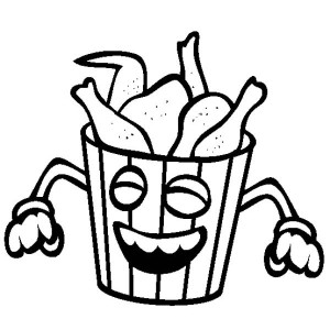 Junk Food Smiling Fried Chicken Coloring Page