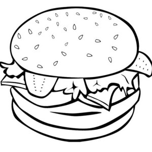 The Big Burger For Junk Food Coloring Page