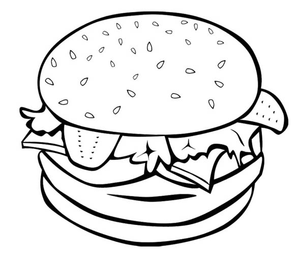 The Big Burger For Junk Food Coloring Page Download Print Online Rhcolornimbus: Coloring Pages Food At Baymontmadison.com