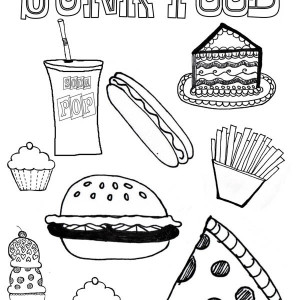 Various Junk Food Coloring Page