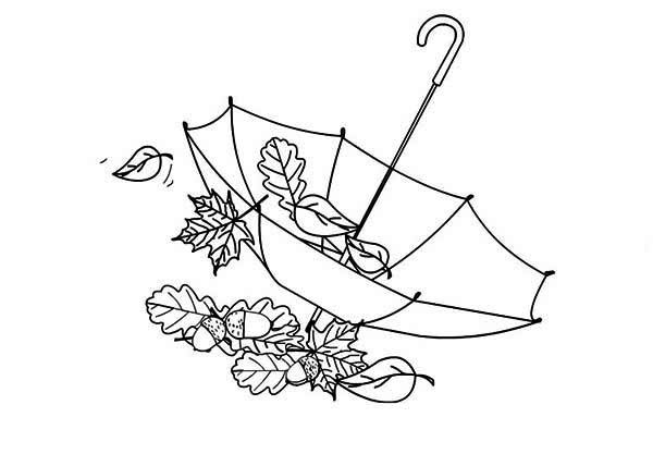 autumn leaf in umbrella coloring page  download  print