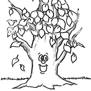 Happy Tree Autumn Leaf Coloring Page