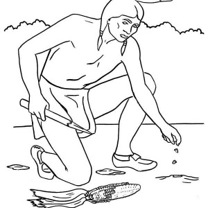 Native American Planting Maize Seed On Native American Day Coloring Page