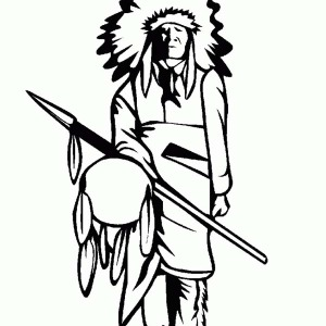Native American Tribe Chief On Native American Day Coloring Page