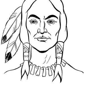 Potrait Of Native American On Native American Day Coloring Page