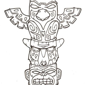 Terrifying Native American Totem On Native American Day Coloring Page
