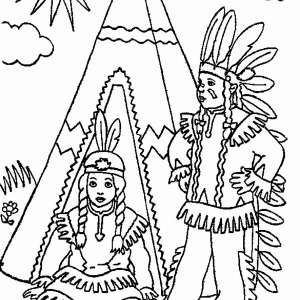 Two Native American In Front Of Teepee On Native American Day Coloring Page