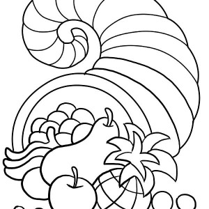 Canada Thanksgiving Day Decorations With Horn Of Plenty Coloring Page