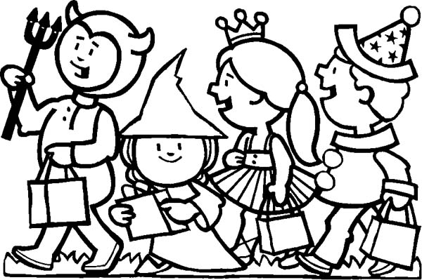 Childrens Celebrating Halloween Day Coloring Page