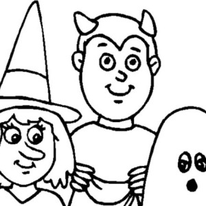 Childrens On Halloween Day Coloring Page