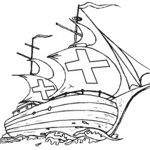 Columbus Fleets On Columbus Day Coloring Page