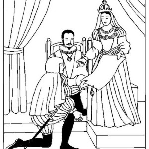 Columbus With  King And Queen Of Spain On Columbus Day Coloring Page