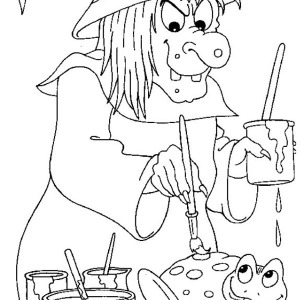 Creepy Witch Painting The Frog For Halloween Day Coloring Page