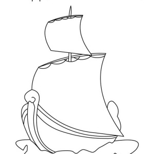 Happy Columbus Day Regatta Coloring Page