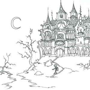 Haunted Castle On Halloween Day Coloring Page