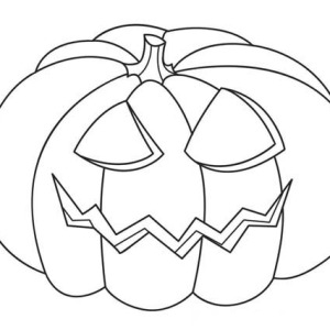 Jack O' Lantern Head On Halloween Day Coloring Page