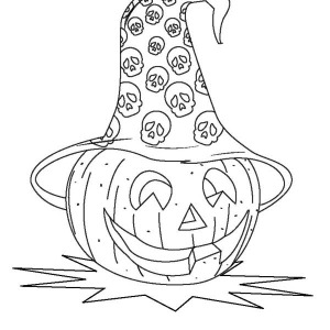 Jack O' Lantern Wearing Halloween Day Hat Coloring Page