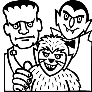 Mr Frankenstein, Count Draculas And Werewolf On Halloween Day Coloring Page