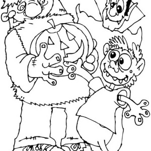 Pumpkin Jack O' Lantern, Mr Frankenstein And Mr Count Dracula Coloring Page