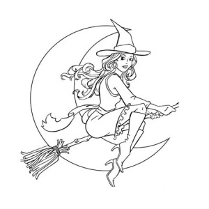Sexy Witch On Halloween Day Coloring Page