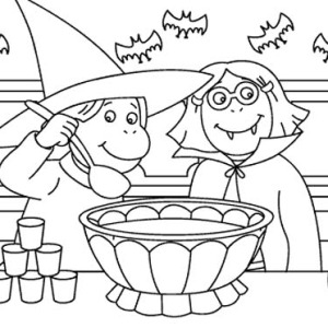 Two Childrens Dress Up For Halloween Day Costume Coloring Page