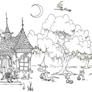 Witch House Welcoming Halloween Day Quest Coloring Page