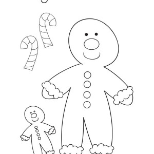 A Couple Of Mr Gingerbread Men And Candy Cane On Christmas Coloring Page