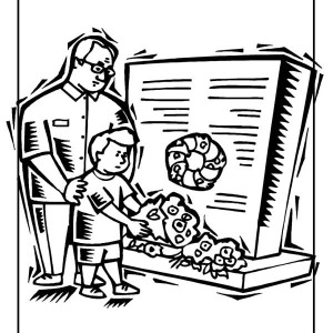 A Little Boy Giving Flowers For Celebrating Veterans Day Coloring Page