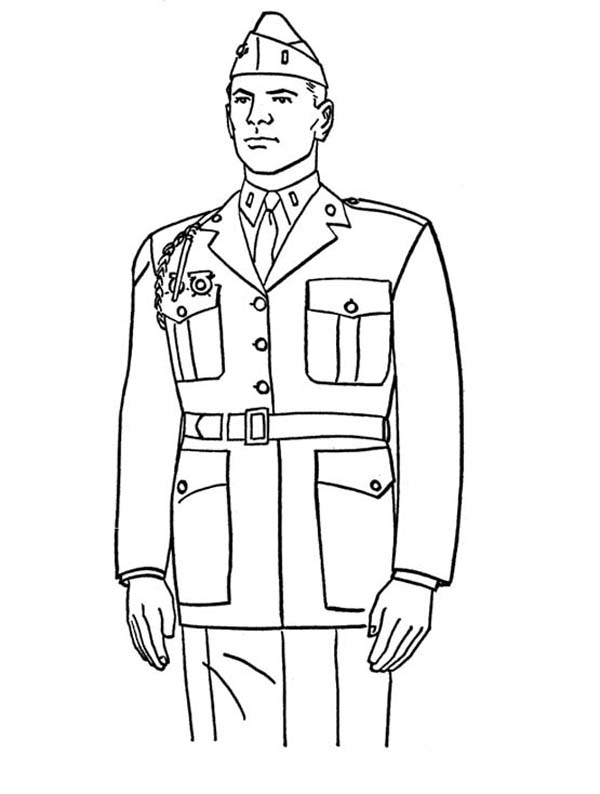 marine coloring pages A Steady Marine Officer Celebrating Veterans Day Coloring Page  marine coloring pages