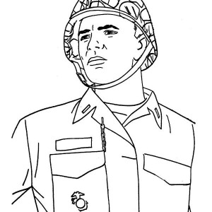 A Young Soldier In Combat Helmet Celebrating Veterans Day Coloring Page