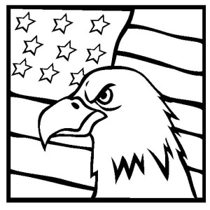 American Eagle And US Flag Celebrating Veterans Day Coloring Page