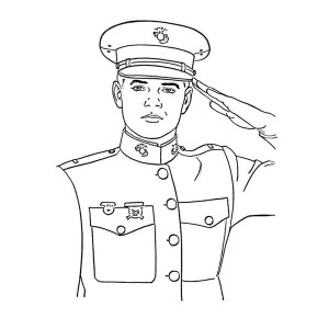 An Officer Giving Salute Celebrating Veterans Day Coloring Page