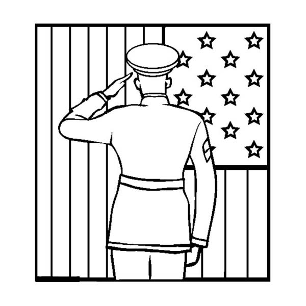 - An Officer Giving Salute To US Flag On Celebrating Veterans Day Coloring  Page - Download & Print Online Coloring Pages For Free Color Nimbus