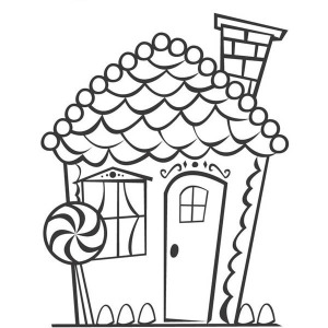 Beautiful Christmas Gingerbread House Coloring Page