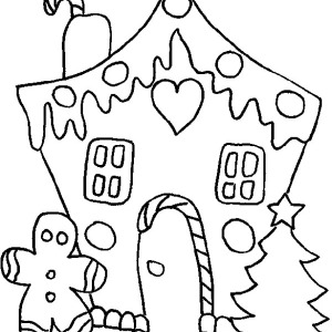 Celebrating White Christmas With Christmas Gingerbread House Coloring Page