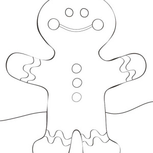 Cheerful Mr Gingerbread Man And Christmas Gingerbread House Coloring Page