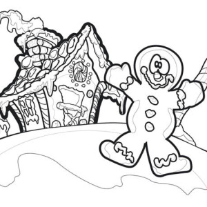 Christmas Clown And Gingerbread House Coloring Page