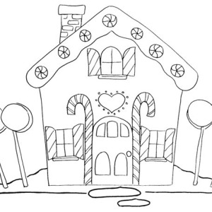 Christmas Gingerbread House And Four Huge Lollipop Candy Coloring Page