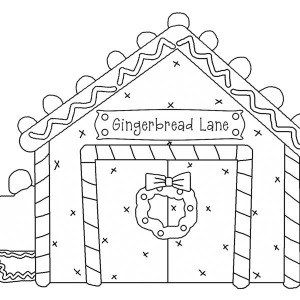 Christmas Gingerbread House And Lovely Cupcake Coloring Page