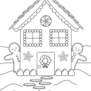 Christmas Gingerbread House And Two Gingerbread Man Side By Side Coloring Page