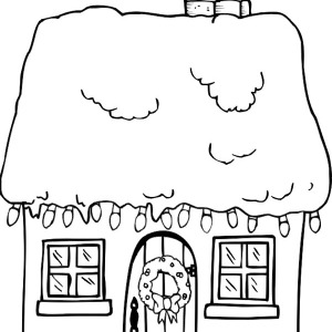Christmas Gingerbread House And A Bunch Of Lamp Coloring Page