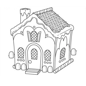 Christmas Gingerbread House And The Chimney Coloring Page