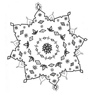 Christmas Snowflakes Drawing Coloring Page